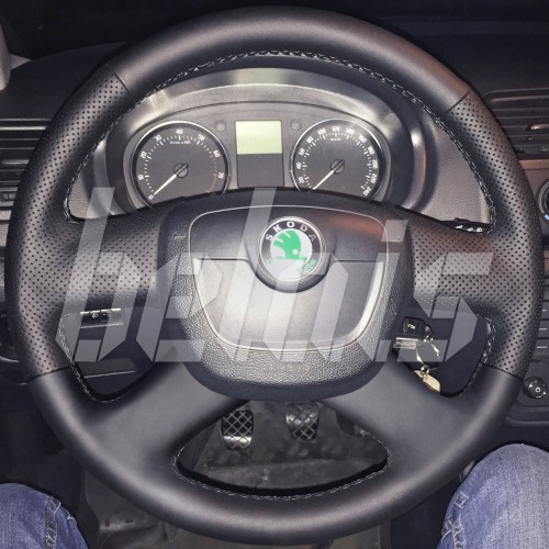 Оплетка на руль из натуральной кожи Skoda Superb II 2008-2013 г.в. (черная)
